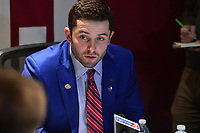 New York, NY - December 9, 2017: Oklahoma quarterback Baker Mayfield speaks during a media conference for the 2017 Heisman Trophy finalists at the New York Marriott Marquis in New York City, December 9, 2017. Mayfield, a repeat finalist for the award, threw for 4,340 yards with 41 touchdowns  (Photo by Don Baxter/Media Images International)