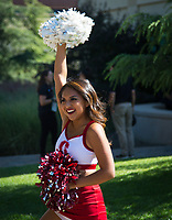STANFORD, CA - August 31, 2018: Cheerleaders at Stanford Stadium. The Stanford Cardinal defeated the San Diego State Aztecs 31-10 in the season opener.