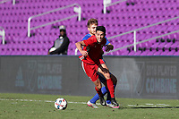 Orlando, Florida - Monday January 15, 2018: Justin Fiddes, Alan Winn. Match Day 2 of the 2018 adidas MLS Player Combine was held Orlando City Stadium.