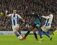 West Bromwich Albion's Jonathan Leko (center) is tackled by Brighton & Hove Albion's Beram Kayal (left) & Yves Bissouma is tackled (right) <br /> <br /> Photographer David Horton/CameraSport<br /> <br /> Emirates FA Cup Fourth Round - Brighton and Hove Albion v West Bromwich Albion - Saturday 26th January 2019 - The Amex Stadium - Brighton<br />  <br /> World Copyright © 2019 CameraSport. All rights reserved. 43 Linden Ave. Countesthorpe. Leicester. England. LE8 5PG - Tel: +44 (0) 116 277 4147 - admin@camerasport.com - www.camerasport.com