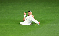Trent Boult takes a catch to dismiss Stoneman.<br /> New Zealand Blackcaps v England. 1st day/night test match. Eden Park, Auckland, New Zealand. Day 4, Sunday 25 March 2018. &copy; Copyright Photo: Andrew Cornaga / www.Photosport.nz