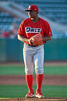 Orem Owlz starting pitcher Jeans Flores (13) looks to the plate against the Ogden Raptors at Lindquist Field on September 3, 2019 in Ogden, Utah. The Raptors defeated the Owlz 12-0. (Stephen Smith/Four Seam Images)