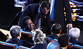 1st December 2017, State Kremlin Palace, Moscow, Russia;  Retired soccer player Pele (C) from Brazil sits in the audience during the FIFA 2018 World Cup draw at the State Kremlin Palace in Moscow, Russia