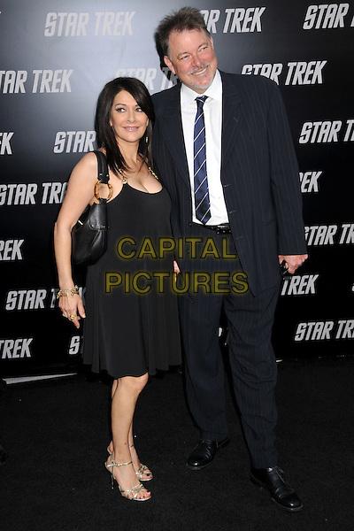 "MARINA SIRTIS & JONATHAN FRAKES.""Star Trek"" Los Angeles Premiere held at Grauman's Chinese Theatre, Hollywood, CA, USA..April 30th, 2009.full length black dress suit jacket tie blue.CAP/ADM/BP.©Byron Purvis/AdMedia/Capital Pictures."
