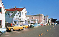 Mendocino CA:  View of Main Street. To the right is the ocean.   Photo '83.