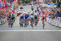 Peter Sagan (SVK/Bora-Hansgrohe) narrowly beats Alexander Kristoff (NOR/Katusha) at the finish line in a bunch sprint and thus crowns himself World Champion for a third consecutive time. Nobody ever in history was World Champion 3 years in a row...<br /> <br /> Men Elite Road Race<br /> <br /> UCI 2017 Road World Championships - Bergen/Norway