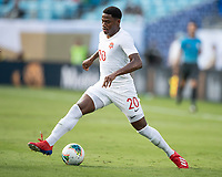 CHARLOTTE, NC - JUNE 23: Jonathan David #20 during a game between Cuba and Canada at Bank of America Stadium on June 23, 2019 in Charlotte, North Carolina.