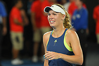 January 27, 2018: Number two seed Caroline Wozniacki of Denmark celebrates after winning the Women's Final against number one seed Simona Halep of Romania on day thirteen of the 2018 Australian Open Grand Slam tennis tournament in Melbourne, Australia. Photo Sydney Low