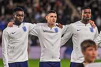England Under 21's midfielder Phil Foden (10)  with England Under 21's defender Steven Sessegnon (11) and England Under 21's forward Eddie Nketiah (9) during the UEFA Euro U21 Qualifying match between England U21 & Kosovo U21 at KCOM Craven Park, Hull, England on 9 September 2019. Photo by Stephen Buckley / PRiME Media Images.