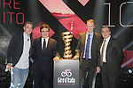 Elia Viviani (ITA), Urbano Cairo RCS MediaGroup President and CEO, Defending Champion Christopher Froome (GBR) and Mauro Vegni Race Director at the Presentation of the Grand Start of the 102nd edition of the Giro d'Italia 2019 held in the RAI TV studios, Milan, Italy. 31st October 2018.<br /> Picture: LaPresse/Fabio Ferrari | Cyclefile<br /> <br /> <br /> All photos usage must carry mandatory copyright credit (&copy; Cyclefile | LaPresse/Fabio Ferrari)