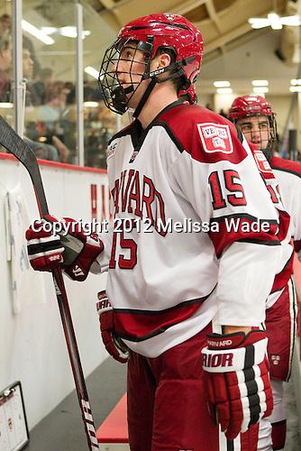 John Caldwell (Harvard - 15) - The Harvard University Crimson defeated the visiting Rensselaer Polytechnic Institute Engineers 4-0 (EN) on Saturday, November 10, 2012, at Bright Hockey Center in Boston, Massachusetts.