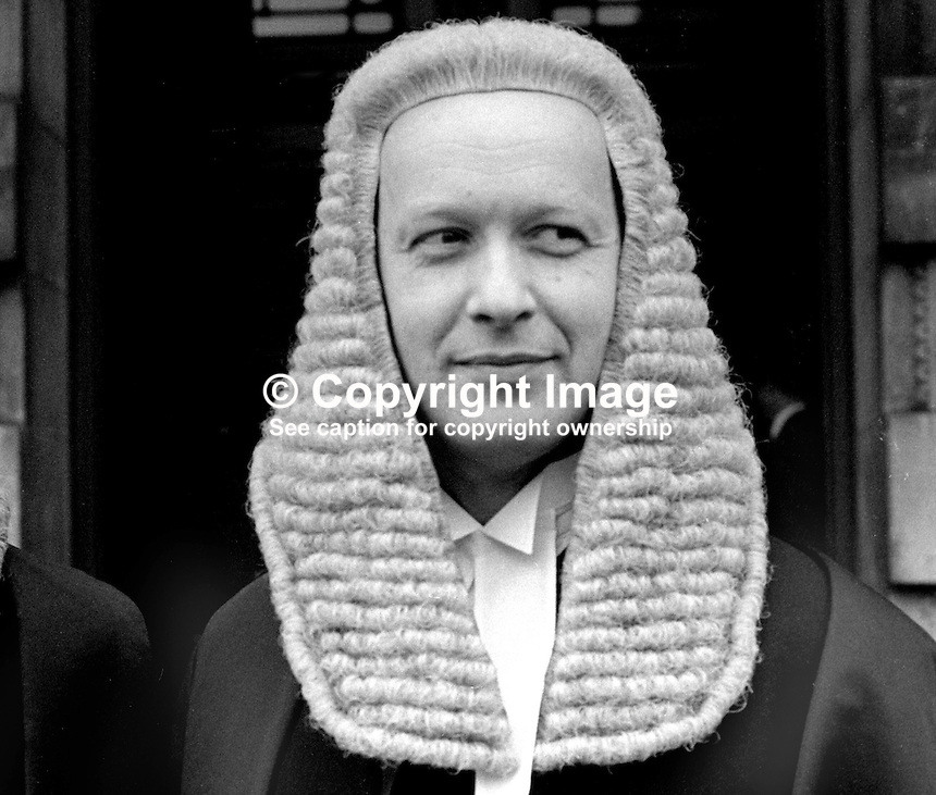 John K Pringle, barrister, High Court, Royal Courts of Justice, Belfast, N Ireland, 26th January 1970, 197001260027JKP<br />