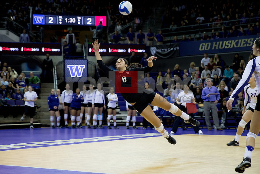 The University of Washington volleyball team plays Stanford on November 26, 2014. (Photography by Scott Eklund/Red Box Pictures)