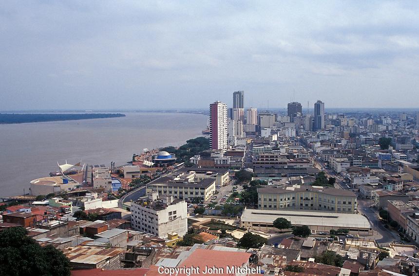 View of downtown Guayaquil, Ecuador, showing thwe Malecon 2000 pedestrian walkway and Rio Guayas.