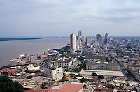 View of downtown Guayaquil, Ecuador, showing thwe Malecon 2000 pedestrian walkway and Rio Guayas.