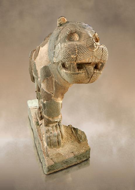 Pictures & images of the South Gate Hittite sculpture statue of a Lion. 8th century BC. Karatepe Aslantas Open-Air Museum (Karatepe-Aslantaş Açık Hava Müzesi), Osmaniye Province, Turkey.  Against art background