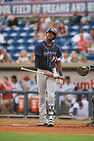 Jacksonville Jumbo Shrimp center fielder Lewis Brinson (32) at bat during a game against the Pensacola Blue Wahoos on August 15, 2018 at Blue Wahoos Stadium in Pensacola, Florida.  Jacksonville defeated Pensacola 9-2.  (Mike Janes/Four Seam Images)