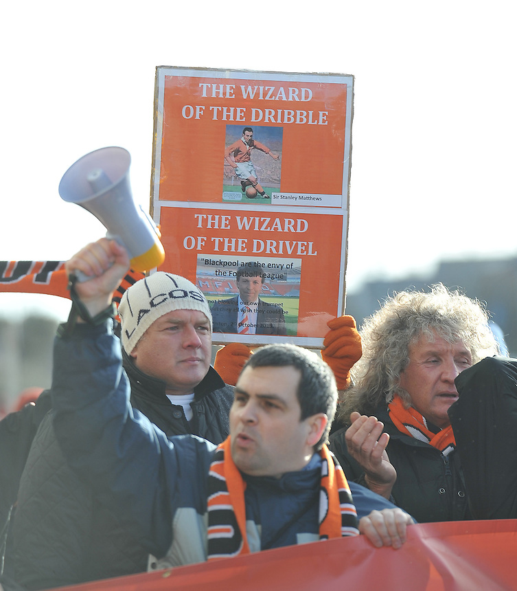 Fans protest outside the ground before the game<br /> <br /> Photographer Dave Howarth/CameraSport<br /> <br /> Football - The Football League Sky Bet Championship - Blackpool v Brighton and Hove Albion - Saturday 31st January 2015 - Bloomfield Road - Blackpool<br /> <br /> &copy; CameraSport - 43 Linden Ave. Countesthorpe. Leicester. England. LE8 5PG - Tel: +44 (0) 116 277 4147 - admin@camerasport.com - www.camerasport.com