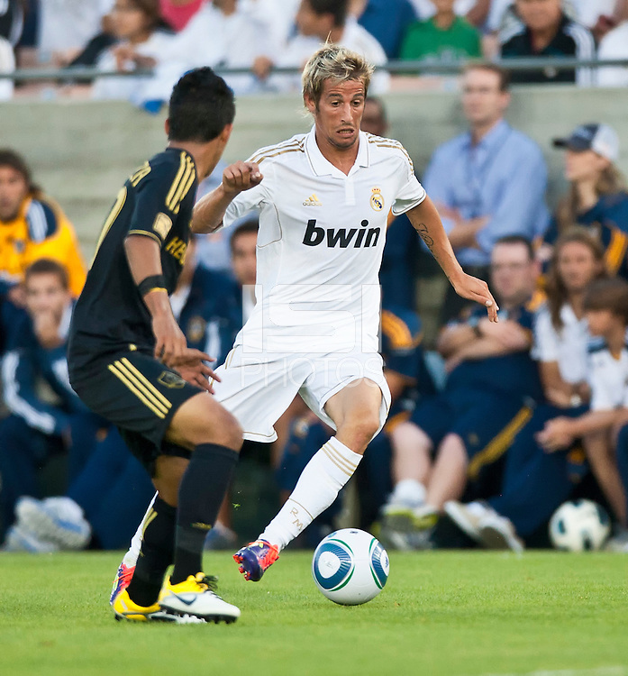 LOS ANGELES, CA – July 16, 2011: Fabio Coentrao (15) of Real Madrid during the match between LA Galaxy and Real Madrid at the Los Angeles Memorial Coliseum in Los Angeles, California. Final score Real Madrid 4, LA Galaxy 1.