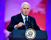 United States Vice President Mike Pence speaks at the Conservative Political Action Conference (CPAC) at the Gaylord National Resort and Convention Center in National Harbor, Maryland on Friday, March 1, 2019.<br />