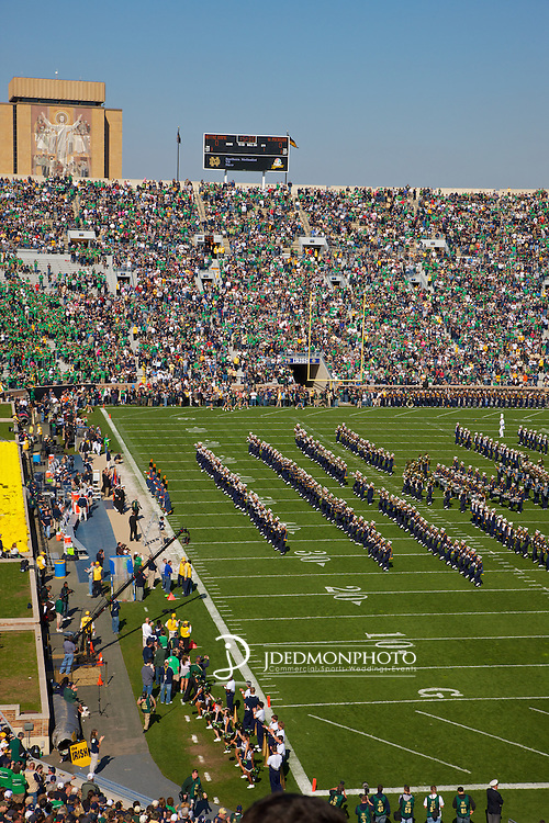 The Irish Guard, Fighting Irish Band lead the Fighting Irish onto the field.