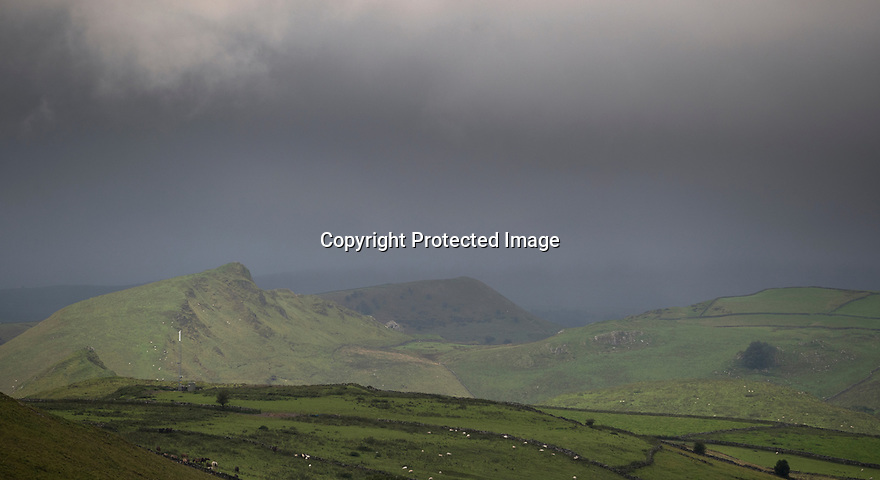 13/09/17<br /> <br /> Clouds shroud Parkhouse and Chrome Hill near Buxton as storm Aileen blows into give the Derbyshire Peak District  good soaking.<br /> <br /> <br /> All Rights Reserved F Stop Press Ltd. (0)1773 550665 www.fstoppress.com