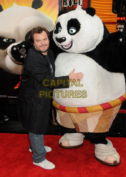 "JACK BLACK.""Kung Fu Panda 2"" Los Angeles Premiere held at Grauman's Chinese Theatre, Hollywood, California, USA, 22nd May 2011..full length jeans beard facial hair smiling back coat t-shirt  ying yang panda logo .CAP/ADM/BP.©Byron Purvis/AdMedia/Capital Pictures."