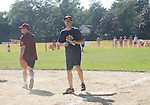 Josh Charles, (The Good Wife) bats on 1st base at the 63rd Annual Charity Softball Game 2011 - Artists versus Writers to benefit East Hampton Day Care Learning Center, East End Hospice and Phoenix Houses of Long Island - played at Herrick Park, East Hampton, New York. (Photo by Sue Coflin/Max Photos)