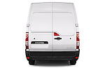 Straight rear view of a 2015 Renault MASTER GRAND CONFORT 4 Door Cargo Van Rear View  stock images
