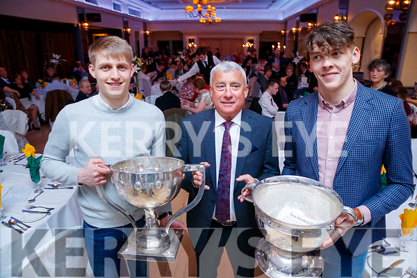 Killian Spillane and Ogie Moran and David Clifford pictured at the Kerry Supporters Social at Ballygarry House Hotel and Spa, Tralee, on Saturday night last.