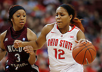 Ohio State's Maleeka Kynard (12) drives around North Carolina's Alexus Hynes (3)  during a women's basketball game between the Ohio State Buckeyes and the North Carolina Central Eagles on December 29, 2013 at Value City Arena. (Columbus Dispatch photo by Fred Squillante)