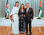 25.05.2017; Amman, Jordan: QUEEN RANIA, KING ABDULLAH II AND PRINCESS SALMA<br /> attend the national celebrations on the occasion of the 71st anniversary of Jordan's Independence Day at Raghadan Palace, Amman<br /> Mandatory Photo Credit: &copy;RHC/NEWSPIX INTERNATIONAL<br /> <br /> IMMEDIATE CONFIRMATION OF USAGE REQUIRED:<br /> Newspix International, 31 Chinnery Hill, Bishop's Stortford, ENGLAND CM23 3PS<br /> Tel:+441279 324672  ; Fax: +441279656877<br /> Mobile:  0777568 1153<br /> e-mail: info@newspixinternational.co.uk<br /> &ldquo;All Fees Payable To Newspix International&rdquo;