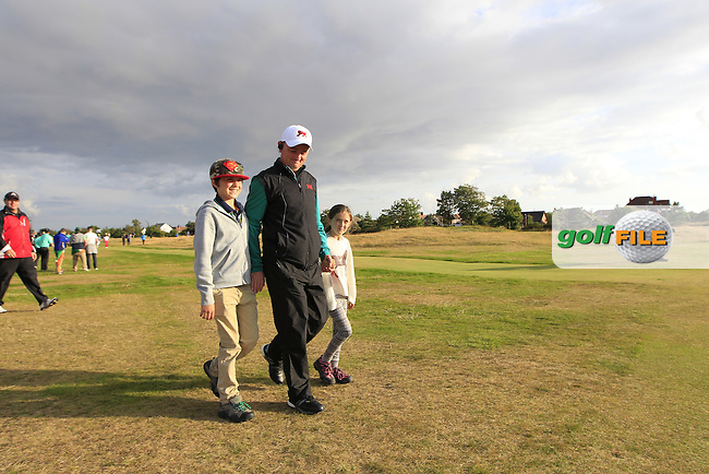 Nigel Edwards (GB&amp;Ireland team captain) with his two children during the afternoon singles for the Walker cup Royal Lytham St Annes, Lytham St Annes, Lancashire, England. 13/09/2015<br /> Picture Golffile   Fran Caffrey<br /> <br /> <br /> All photo usage must carry mandatory copyright credit (&copy; Golffile   Fran Caffrey)