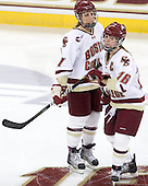 Laura Hart (BC - 27), Kelli Stack (BC - 16) - The Boston College Eagles and the visiting University of New Hampshire Wildcats played to a scoreless tie in BC's senior game on Saturday, February 19, 2011, at Conte Forum in Chestnut Hill, Massachusetts.