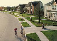 Young families outdoors in neighborhood. Houston Texas.