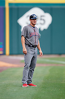 Lehigh Valley IronPigs bench coach Wes Helms (18) during a game against the Buffalo Bisons on June 23, 2018 at Coca-Cola Field in Buffalo, New York.  Lehigh Valley defeated Buffalo 4-1.  (Mike Janes/Four Seam Images)