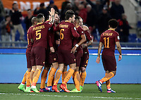 Calcio, Serie A: Roma, stadio Olimpico, 19 febbraio 2017.<br /> Roma&rsquo;s Edin Dzeko celebrates with teammates after scoring during the Italian Serie A football match between As Roma and Torino at Rome's Olympic stadium, on February 19, 2017.<br /> UPDATE IMAGES PRESS/Isabella Bonotto