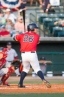 Mike Ford (26) of the Charleston RiverDogs at bat against the Greenville Drive at Joseph P. Riley, Jr. Park on May 26, 2014 in Charleston, South Carolina.  The Drive defeated the RiverDogs 11-3.  (Brian Westerholt/Four Seam Images)