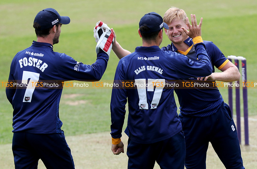 Callum Taylor (Right) celebrates taking a wicket during Essex CCC 2nd XI vs Gloucestershire CCC 2nd XI, Second XI T20 Cricket at The Cloudfm County Ground on 5th June 2017