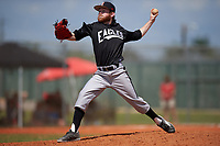 Edgewood Eagles pitcher Ryan Howell (23) during the second game of a doubleheader against the Plymouth State Panthers on April 17, 2016 at Lee County Player Development Complex in Fort Myers, Florida.  Plymouth State defeated Edgewood 16-3.  (Mike Janes/Four Seam Images)