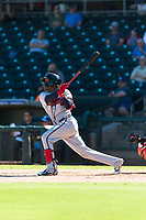 Peoria Javelinas center fielder Cristian Pache (27), of the Atlanta Braves organization, follows through on his swing during an Arizona Fall League game against the Surprise Saguaros at Surprise Stadium on October 17, 2018 in Surprise, Arizona. (Zachary Lucy/Four Seam Images)