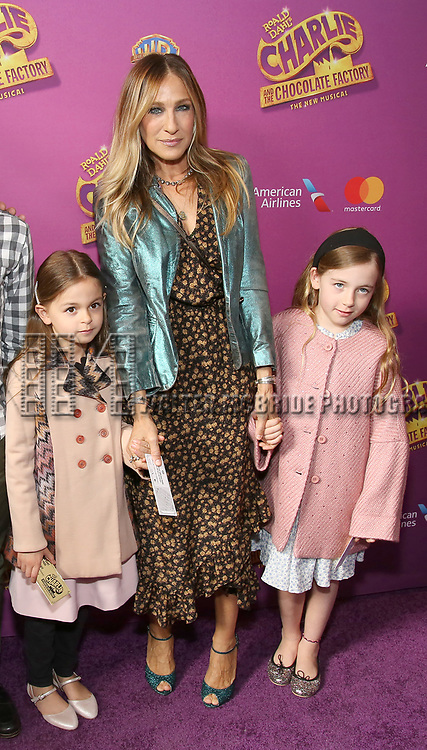 Sarah Jessica Parker, Marion Loretta Broderick, Tabitha Broderick attend the Broadway Opening Performance of 'Charlie and the Chocolate Factory' at the Lunt-Fontanne Theatre on April 23, 2017 in New York City.