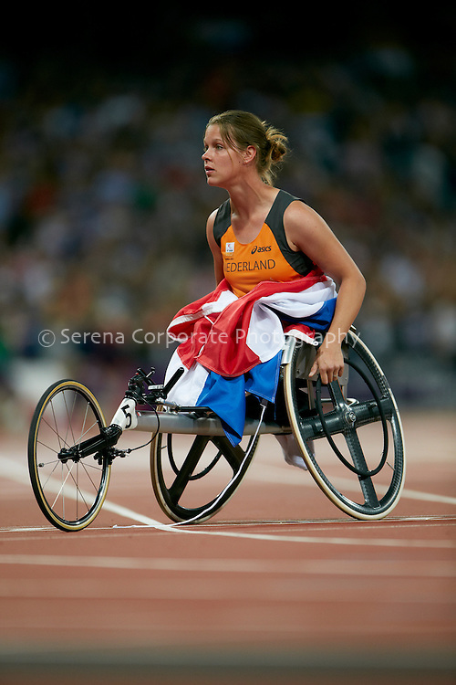 Amy Siemons of the Netherlands celebrates her silver medal performance in the women's T34 200m final at the London Paralympic Games - Athletics 6.9.12