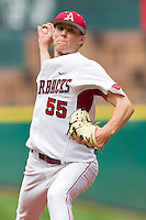 Starting pitcher Ryne Stanek #55 of the Arkansas Razorbacks in action against the Texas Tech Red Raiders at Minute Maid Park on March 2, 2012 in Houston, Texas.  The Razorbacks defeated the Red Raiders 3-1. (Brian Westerholt/Four Seam Images)