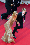 70eme Festival International du Film de Cannes. Montee de la ceremonie de cloture, vues du toit du Palais . 70th International Cannes Film Festival. Vew from rof top of closing red carpet<br />  Thurman, Uma; Hawke-Thurman, Roan (&quot;Levon&quot;)