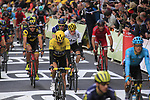 Chris Froome (GBR) Team Sky crosses the finish line after crashing during Stage 2 of the 104th edition of the Tour de France 2017, running 203.5km from Dusseldorf, Germany to Liege, Belgium. 2nd July 2017.<br /> Picture: Eoin Clarke | Cyclefile<br /> <br /> <br /> All photos usage must carry mandatory copyright credit (&copy; Cyclefile | Eoin Clarke)