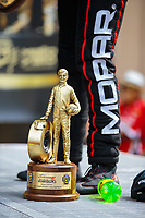 Jul 22, 2018; Morrison, CO, USA; Detailed view of the Wally trophy won but NHRA top fuel driver Leah Pritchett as she celebrates after winning the Mile High Nationals at Bandimere Speedway. Mandatory Credit: Mark J. Rebilas-USA TODAY Sports
