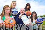ON THE BALL: Announcing details of the Team Kerry basketball camps to be held in Tralee and Causeway next month, front l-r: Shannon Lowe, Billy McGaley (Coach), Molly O'Regan. Back l-r: Amy Scanlon, Melissa Kiely.