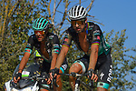 Peter Sagan (SVK) and Daniel Oss (ITA) Bora-Hansgrohe in action during the 2020 Strade Bianche Elite Men running 184km from Fortezza Medicea Siena to Piazza del Campo Siena, Italy. 1st August 2020.<br /> Picture: Bora-Hansgrohe/Luca Bettini/BettiniPhoto | Cyclefile<br /> <br /> All photos usage must carry mandatory copyright credit (© Cyclefile | Bora-Hansgrohe/Luca Bettini/BettiniPhoto)
