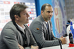 Getafe's new coach Juan Eduardo Esnaider (r) with the General Manager Toni Munoz during his official presentation. April 13, 2016. (ALTERPHOTOS/Acero)